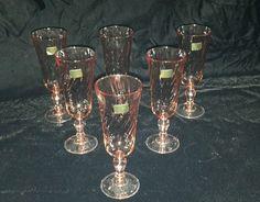 6 Cristal D'Arques Durand French Rosaline Pink Swirl Champagne Flutes Luminarc #luminarc
