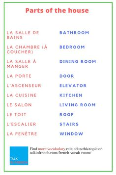 Are you learning French? Widen your French knowledge by learning vocabulary about the house. You can also download the list in PDF format for free! Get it here: https://www.talkinfrench.com/french-vocab-room/