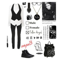 """""""I had a band thing today and I almost missed my solo😂"""" by myxx13 ❤ liked on Polyvore featuring Veronica Beard, Forever 21, Converse, Sharpie, Ray-Ban, xO Design and CO"""