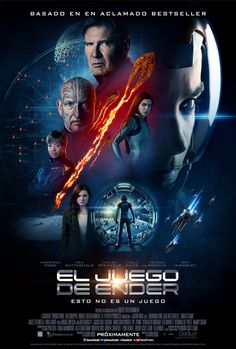 Stars Asa Butterfield, Harrison Ford, Ben Kingsley, Abigail Breslin, Hailee Steinfeld and Viola Davis are pictured in the latest one-sheet. Harrison Ford, Streaming Movies, Hd Movies, Movies Online, Hd Streaming, Game Poster, New Poster, Ender's Game Movie, Movie Tv
