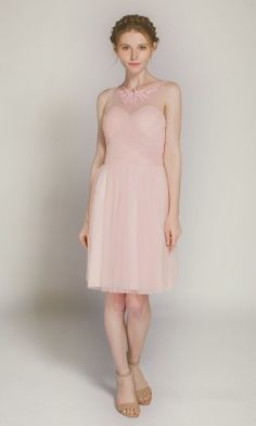 Pretty Tulle Bridesmaid Dress in Cocktail Length TBQP301