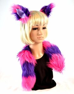 Cat Ear Tail Clip On Faux Fur Set in Pink and Purple