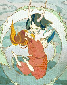 "Chihiro and Haku (in half-human, half-dragon form) from Miyazaki's ""Spirited Away"" - Art by きわ"