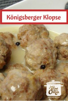 Mutti& German meatballs are a real classic. Called Königsberger Klopse mit Sosse, it& an easy comfort food to make. But, Mutti& are just a bit different! And mine, even more so. Dutch Recipes, Meat Recipes, Cooking Recipes, German Recipes, French Recipes, Chicken Recipes, Recipies, Popular German Food, German Appetizers