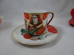 Stunning Moriage Hand Decorated and Painted Moriage Porcelain Demitasse cup and Saucer//Can't remember who had those...