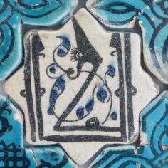 Karatay Medrese, Konya : Single Tile Motifs with Cross Tiles – Haç Karo ile Tek Karo Motifleri-Calligraphic Seal Motif – Mühür Hat