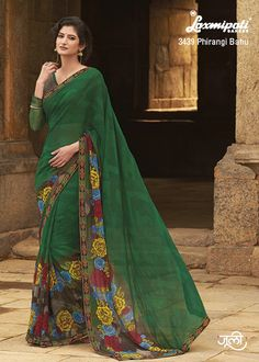 Green sari with floral print on pleats Green georgette printed Comes with matching unstitched blouse material Indian Beauty Saree, Indian Sarees, Indian Dresses, Indian Outfits, Green Sari, Suits For Women, Clothes For Women, Indian Clothes Online, Casual Saree