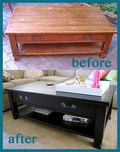 refinished coffee table -- I intend to save a bunch of money by buying crappy furniture to fix up like this!