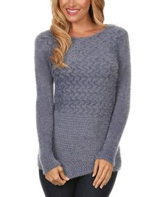 Look at this UNI Fashion Gray Textured Knit Sweater on #zulily today!