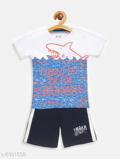 Clothing Sets Lazy Shark Kids Boys Clothing Set Top Fabric: Cotton Blend Bottom Fabric: Cotton Blend Sleeve Length: Short Sleeves Top Pattern: Printed Bottom Pattern: Printed Multipack: Single Add-Ons: No Add Ons Sizes: 4-5 Years (Top Chest Size: 25 in Top Length Size: 17.5 in Bottom Waist Size: 25 in Bottom Length Size: 8.5 in)  5-6 Years (Top Chest Size: 26 in Top Length Size: 18.5 in Bottom Waist Size: 27 in Bottom Length Size: 9.5 in)  1-2 Years (Top Chest Size: 22 in Top Length Size: 14.5 in Bottom Waist Size: 21 in Bottom Length Size: 7 in)  3-4 Years (Top Chest Size: 24 in Top Length Size: 16.5 in Bottom Waist Size: 24 in Bottom Length Size: 7.5 in)  6-7 Years (Top Chest Size: 27 in Top Length Size: 19.5 in Bottom Waist Size: 28 in Bottom Length Size: 10.5 in)  7-8 Years (Top Chest Size: 28 in Top Length Size: 20.5 in Bottom Waist Size: 29 in Bottom Length Size: 11.5 in)  2-3 Years (Top Chest Size: 23 in Top Length Size: 15.5 in Bottom Waist Size: 22 in Bottom Length Size: 7 in)  Country of Origin: India Sizes Available: 2-3 Years, 3-4 Years, 4-5 Years, 5-6 Years, 6-7 Years, 7-8 Years, 1-2 Years   Catalog Rating: ★3.9 (468)  Catalog Name: Agile Stylish Boys Top & Bottom Sets CatalogID_1106819 C59-SC1182 Code: 334-6931508-9941