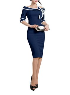 HELYO Women's 1950s Slim Half Sleeve Wear to Work Casual Office Pencil Dress 172 at Amazon Women's Clothing store: