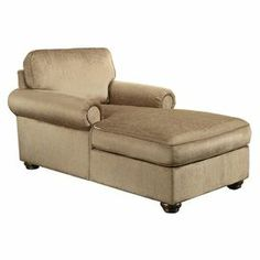 """Upholstered chaise with rolled arms and foam padding.  Product: ChaiseConstruction Material: Polyester and fiber kiln-dried engineered wood Color: Platinum beigeDimensions: 37"""" H x 68"""" W x 40"""" D"""