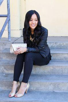 Black Skinnies + Gold Shoes + Black Jacket + Black Blouse + Gold Clutch