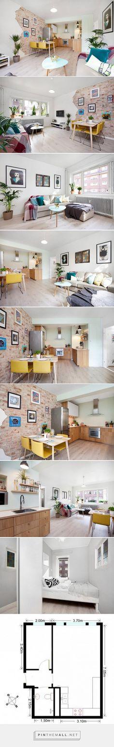 Apartamento de um quarto com parede de tijolinho descascada - limaonagua - created via http://pinthemall.net