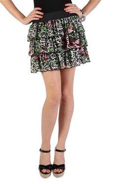 fuchsia floral cheetah print lace triple tier skirt♥