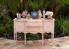 a wedding candy bar on our sweet poppy pink buffet | Pretty Vintage Rentals