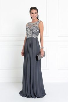 2774da8c755 WOMEN FORMAL BEADED MOTHER OF THE BRIDE LONG EVENING GOWN DRESS XS-3X  CHARCOAL