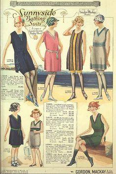 Sunnyside Bathing Suits ~ 1922 Gordon Mackay & Co General Catalogue 20s Fashion, Fashion History, Fashion Dresses, Vintage Fashion, Female Fashion, Curvy Fashion, Fashion Brands, Fashion Tips, Vintage Swimsuits