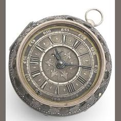 R. Williamson. An early 18th century silver pair case pocket watch with skin covered case Circa 1705 Gilt full plate verge fusee movement with pierced and engraved balance cock (loose), steel 3-arm balance, silver regulation, champleve dial with engraved centre, Roman numerals and outer Arabic five minute divisions, tulip pillars, with pair case (skin case) blued steel Tulip hands, silver hinged case with outer leather case with decorative pin work in a tulip and shell design,