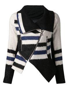 Shop Yigal Azrouel asymmetrical jacket  Composition Lamb Skin 100% Mohair 13% Composition Wool 10% Linen/Flax 40% Nylon 12% Composition Alpaca 13% Virgin Wool 12% Lining Composition Cotton 100%