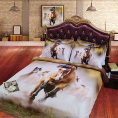 Horse Themed Bedrooms, Bedroom Themes, Wild Horses Running, Horse Bedding, 3d Bedding Sets, Horse Print, Queen Duvet, Flat Sheets, California King