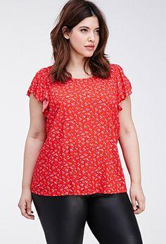 Flutter-Sleeved Ditsy Floral Top | FOREVER21 PLUS - 2000082174