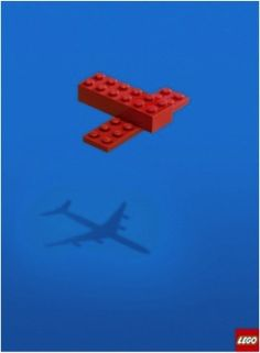 VICTORIA. This is an advertisement for Lego. I think this is a very smart visual metaphor. The author of this add used the toy building bricks to create the metaphor of the plane in the sky. I also like the combination of colours I think it is very strong.