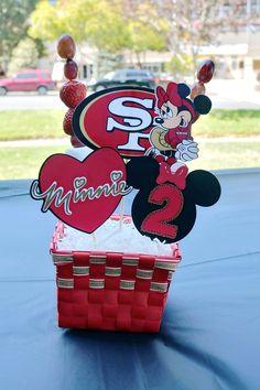 Minnie Mouse Centerpiece.  49ers Centerpiece.  Football