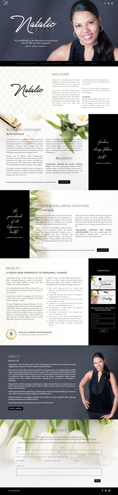 One Page Website Design for Natalie Pauls Business and Wellness Coach by Julie Harris Design. Custom Web Design, Web Design Tips, Blog Design, Page Design, Design Ideas, Diy Design, Layout Design, Website Design Layout, Website Designs