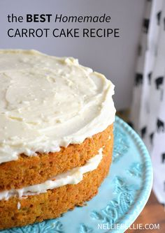 the BEST homemade carrot cake recipe you'll make again and again! One bowl, easy to follow directions for this delicious dessert from nelliebellie.com
