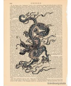 antique dragon paintings | Chinese Dragon Art Print on Antique Book Page Vintage Illustration ...