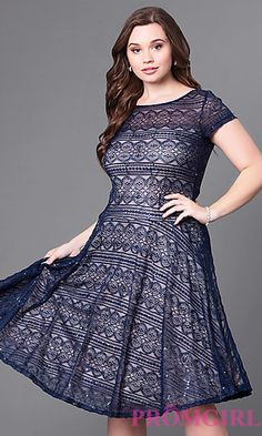 Knee-Length Plus-Size Lace Party Dress with Cap Sleeves at PromGirl.com