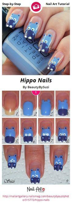 Hippo Nails by BeautyBySuzi - Nail Art Gallery Step-by-Step Tutorials nailartgallery.nailsmag.com by Nails Magazine www.nailsmag.com #nailart