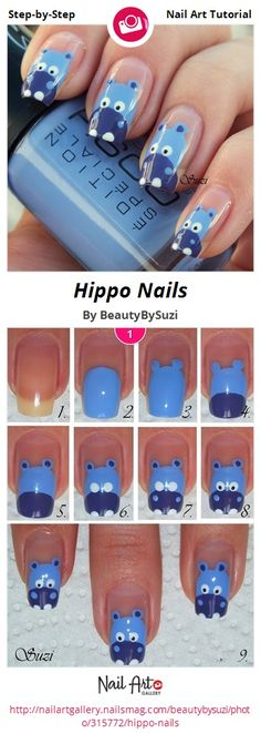Hippo Nails by BeautyBySuzi - Nail Art Gallery Step-by-Step Tutorials nailartgallery.nailsmag.com by Nails Magazine www.nailsmag.com #nailart