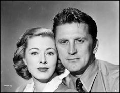 """""""Detective Story"""" (1951) - Eleanor Parker & Kirk Douglas.  She was nominated for an Academy Award for Best Actress."""