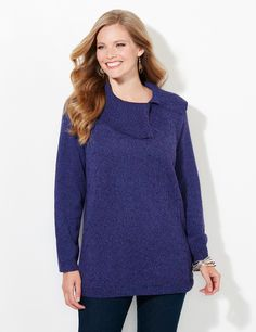 Dashing Sweater | Catherines  Embrace the touchable texture of our cozy, split-neck sweater. The ribbed collar lays beautifully over the raised dash pattern that covers the front. Long sleeves. Side slits at hem. Catherines tops are perfectly proportioned for the plus size woman. #catherines #catherinesplus #plussize #plussizefashion #sweaterweather