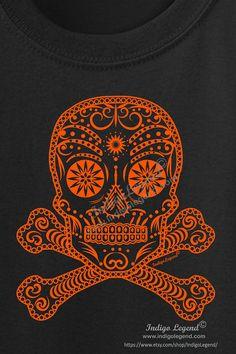 Sugar Skull Pirate T shirt for kids Halloween T by IndigoLegend
