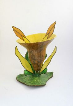 Primitive Gourd Art Flower Sculpture with by myladyofgourds, $75.00