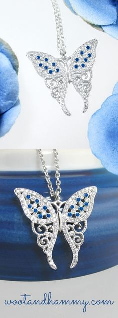 As a symbol of transformation, the magnificent butterfly helps one to gently accept and gracefully embrace change.  The Fanciful Filigree Crystal and Enamel Butterfly Necklace is impeccably designed with cubic zirconia crystals and blue enamel drops in a gorgeous sterling silver setting in the shape of an elegant butterfly.  Bring color, joy and balance into your life with the dazzling Fanciful Filigree Crystal and Enamel Butterfly Necklace in Sterling Silver.