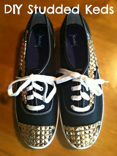 DIY Studded Keds--- would love to do this to mine!
