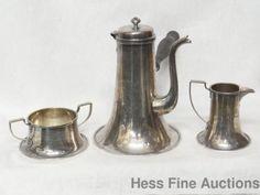 Antique Rare Nevius Sterling Silver Arts Crafts 1915 Chocolate Pot Set