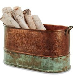 Hold your firewood in a beautiful copper bucket