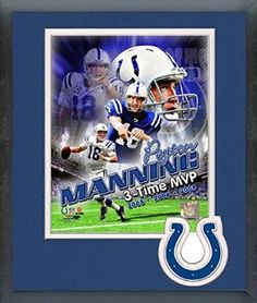 Peyton Manning Framed With Team Color Double Matting Ready To Hang- Awesome & Beautiful