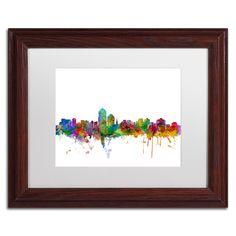 Michael Tompsett 'Albuquerque New Mexico Skyline' Matte, Wood Framed Canvas Wall Art