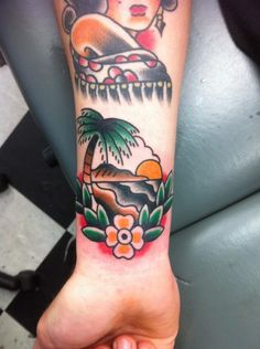 I'd love to know who did this tattoo!! LOVE THIS! tattoo old school / traditional nautical ink - paradise island / tropical / palm