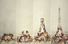 eiffel tower made of flowers