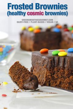 Frosted Brownies. Vegan frosted brownies that are thick, dairy-free and topped with a velvety chocolate fudge and brightened with Cosmic brownie style with chocolate rainbow sprinkles. #brownies #frostedbrownies #cosmicbrownies