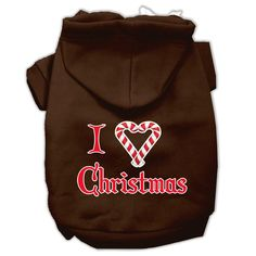 I Heart Christmas Screen Print Pet Hoodies Brown Size Lg (14)