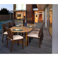 International Home Miami Amazonia Alexandria 9-Piece Teak/Wicker Dining Set