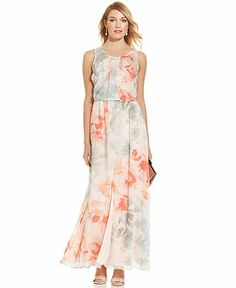 Vince Camuto Sleeveless Floral-Print Blouson Maxi Dress - Conservative yet hip and elegant. #GiftShareLove